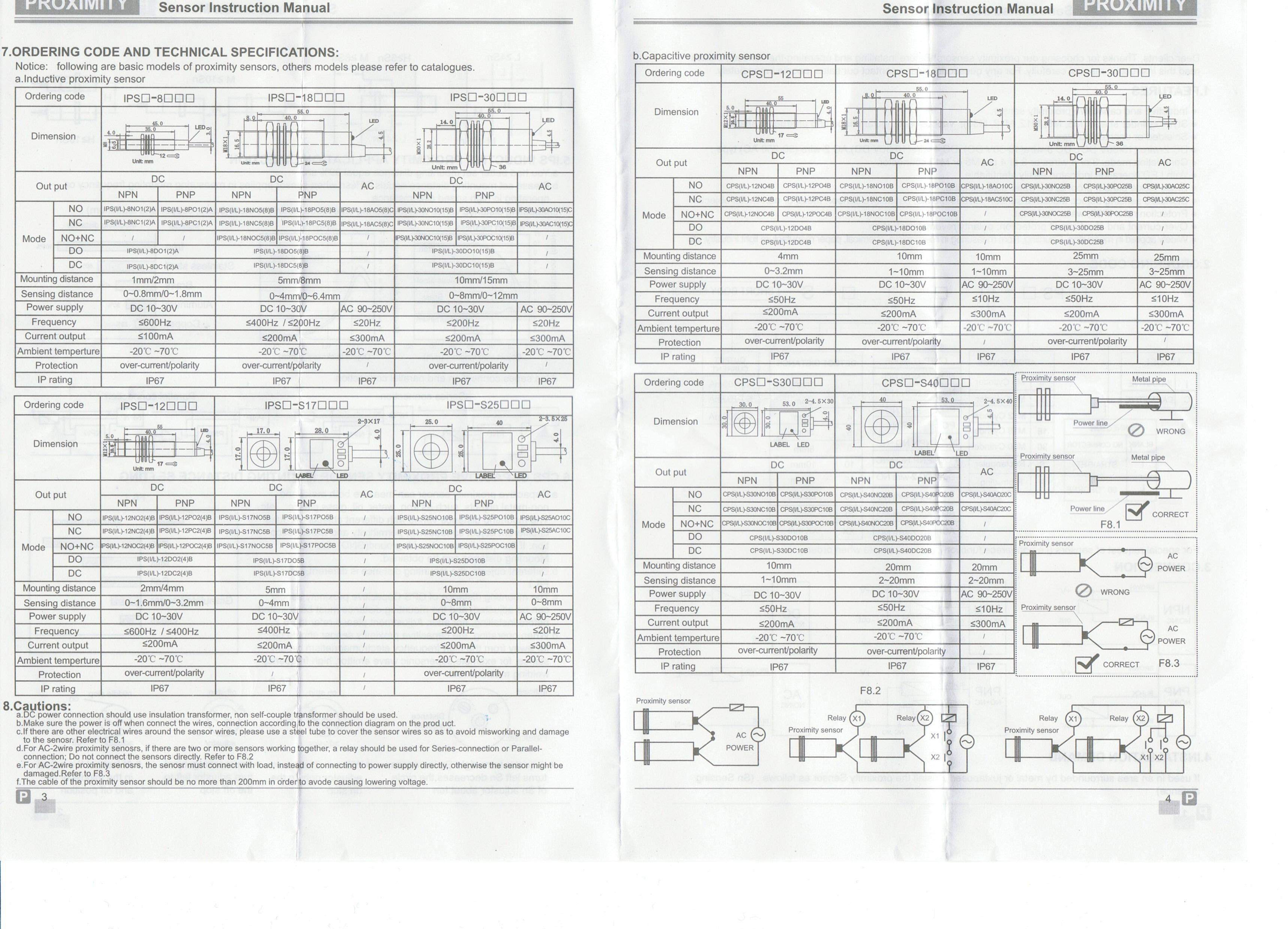 F54 Proximity Sensors Inductive Ips F54noc25b Sensor Wiring Diagram Switch Datasheet Page 2