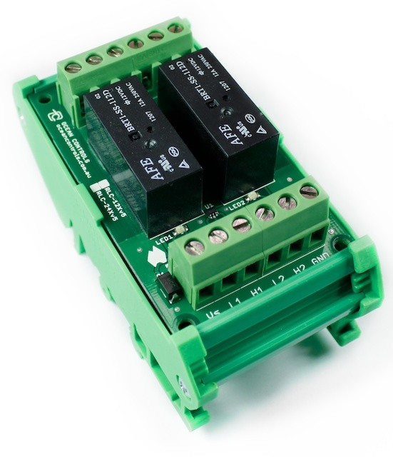 Two 12VDC Relay Card on DIN Rail Mount