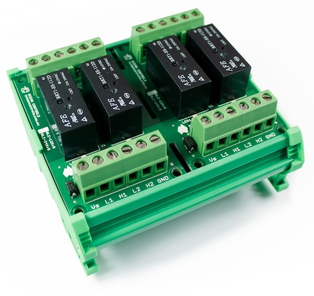 Four 12VDC Relay Card on DIN Rail Mount