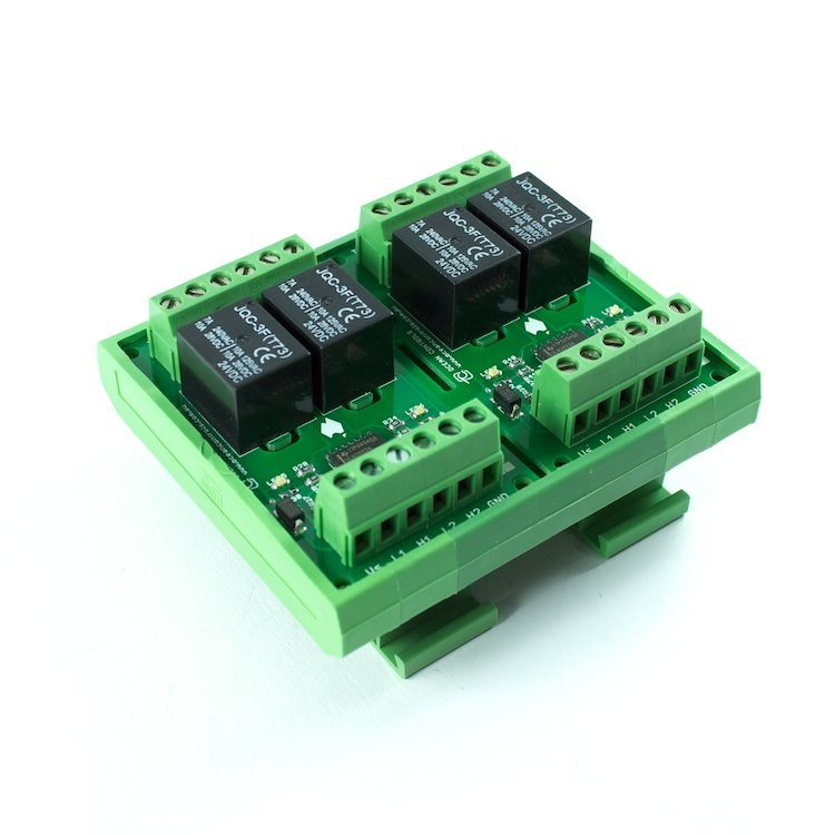 Four 24VDC Relay Card on DIN Rail