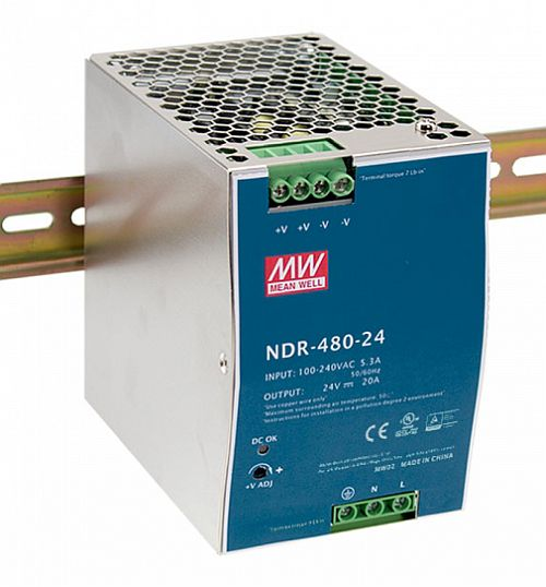 480W Mean Well NDR-480-24 Single Output DIN Rail Supply 24V Out