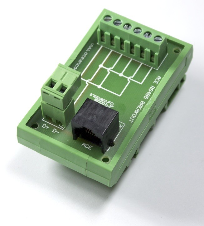 RJ45 RS-485 Breakout Distribution Card on DIN Rail Mount and RJ45 Cable