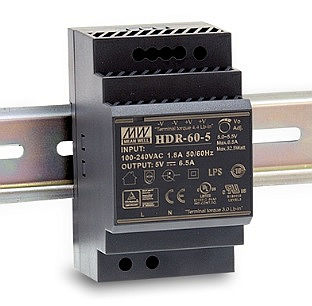 33W Mean Well HDR-60-5 Ultra Slim DIN Rail Supply 5V Out