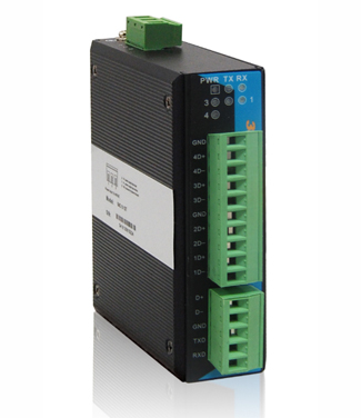 Industrial Isolation RS-232/485 to 4-port RS-485 HUB
