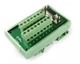 D15 High Density Female Terminal Card with DIN Rail Mount