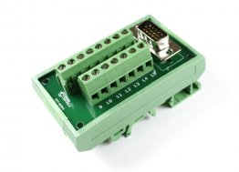 D15 High Density Male Terminal Card with DIN Rail Mount