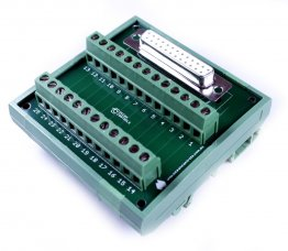 D25 Female Terminal Card Mounted on DIN Rail