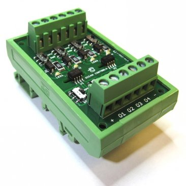 4 Channel Opto-Isolator on DIN-rail Mount